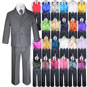 7pc Baby Toddler Kid Formal Wedding Tuxedo Boy Dark Grey Suit Satin Vest Tie S-7