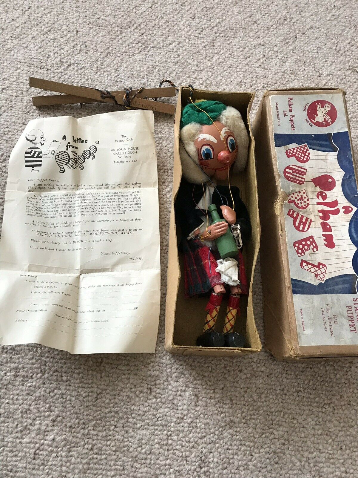 Vintage Pelham Puppet - MACBOOZLE WITH CARVED HANDS - Early Version