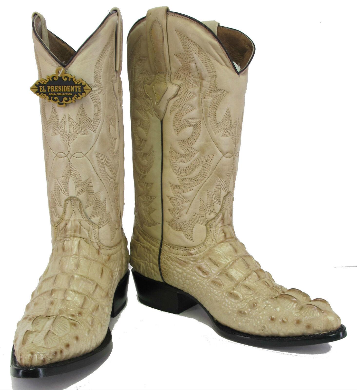 Men's Crocodile Alligator Head Design Leather Cowboy Western J Toe Boots Sand