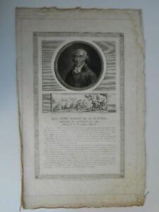 Grabado Duplessi Bertaux Retrato de Jean Maria Roland de La Platière El V