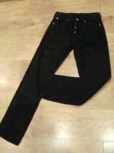 LEVI-039-S-501-W31-034-L34-034-coupe-droite-noir-denim-jeans-Rise-10-034-Base-15-034-GC