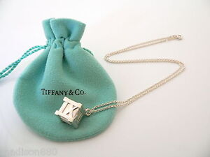 8f1da3a32370b Details about Tiffany & Co Silver XL Large Huge Atlas Cube Necklace Pendant  Charm 18 In Chain
