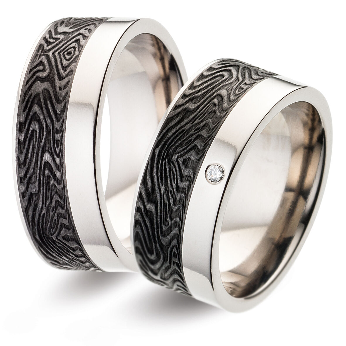 Titanfactory Titan Wedding rings with TF118 Carbon 1 Brill. set 0.02 ct. w si