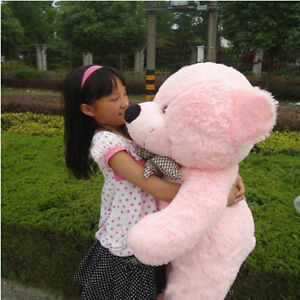 Pink-plush-teddy-bear-Giant-huge-100cm-soft-cotton-doll-toys-stuffed-Xmas-gifts