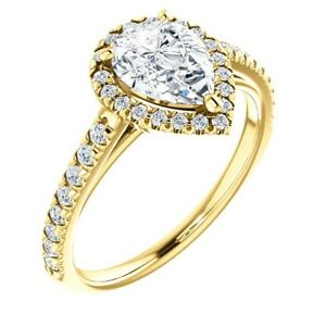 1-00-Carat-Ideal-Cut-Genuine-Diamond-Solitaire-Pear-Halo-Ring-in-14K-Gold