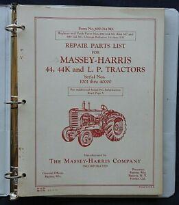 1947-53 MASSEY HARRIS M-H 44 G K LP DIESEL GAS LP TRACTOR PARTS CATALOG MANUAL