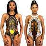 African Dashiki Print Bikini Monokini Backless Halter Swimwear Swimsuit Bodysuit