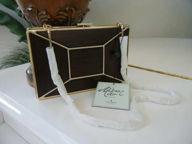 NWT KATE SPADE MADISON AVE BOW WOOD FACET EVENING BELLES EMANUELLE CLUTCH PURSE