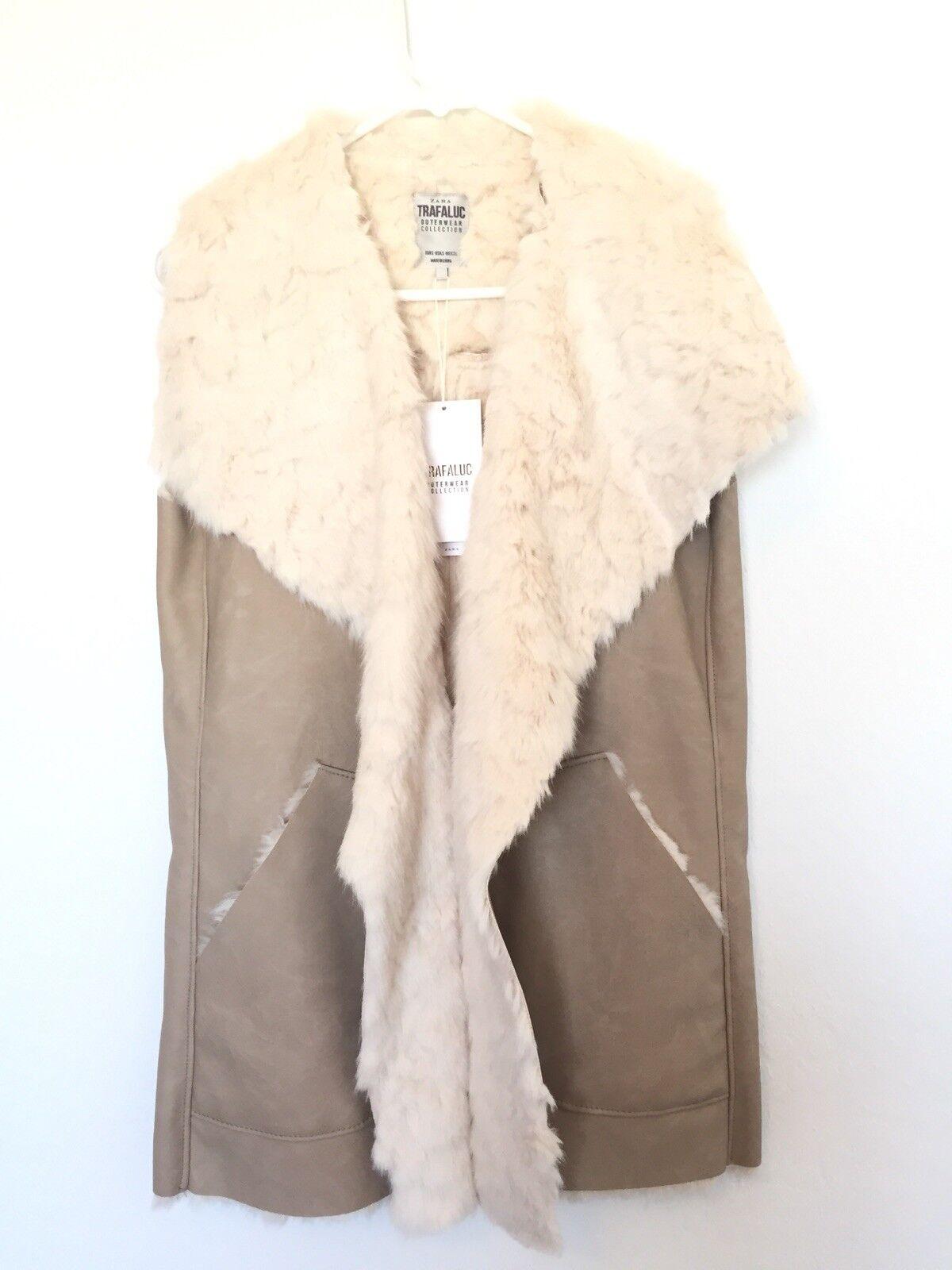 Zara Beige white Faux Leather Fur Vest