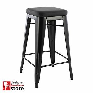 Replica-Tolix-Xavier-Pauchard-Metal-Stool-61cm-Black-With-Black-Seat-Pad