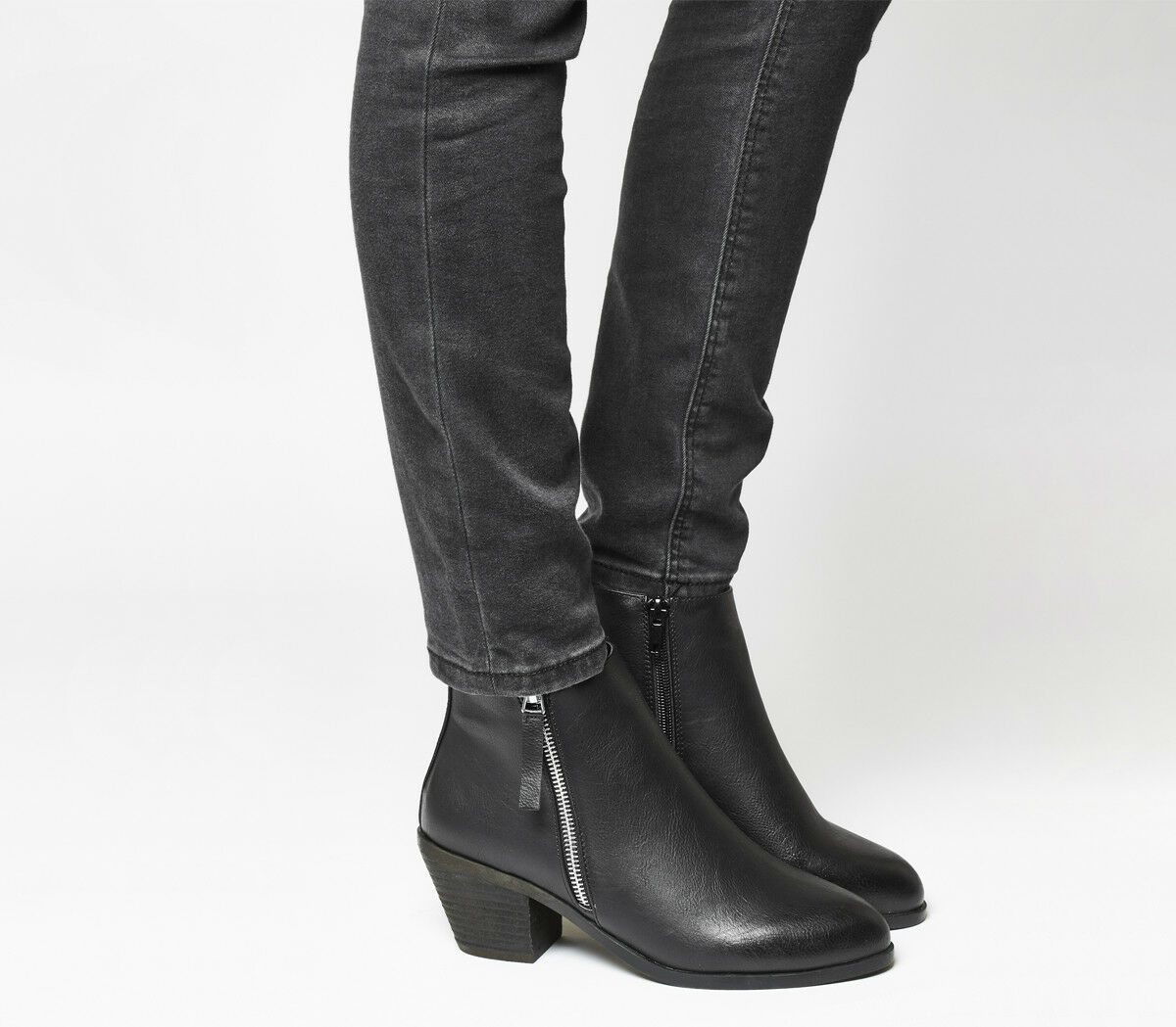 Para Mujer Oficina Anita Cremallera Lateral botas Negras Negras Negras botas Media Occidental  apresurado a ver