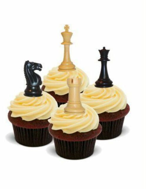 Novelty Chess Pieces 12 Standup Edible Image Cake Toppers Birthday