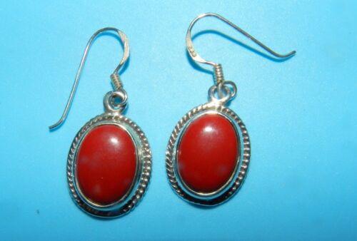 Red Jasper /& Red Coral round dangle Gemstone Earrings 925 Sterling Silver hooks