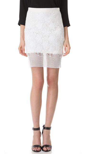 TIBI NEW YORK white layered cotton floral eyelet lace pencil mini skirt 6-US