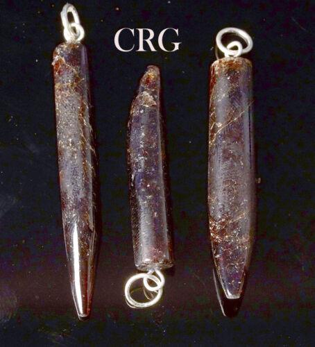 "Garnet Horn Pendant w// Silver Bail 1.75/"" HO30DG"