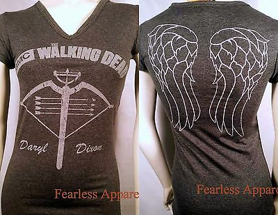 AUTHENTIC THE WALKING DEAD DARYL CROSSBOW ANGEL WINGS JRS V-NECK TEE SHIRT S-XL