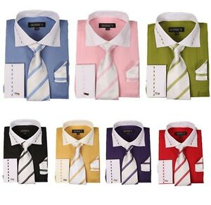 Men-039-s-French-Cuff-Dress-Shirt-with-Matching-Tie-and-Handkerchief-7-Color