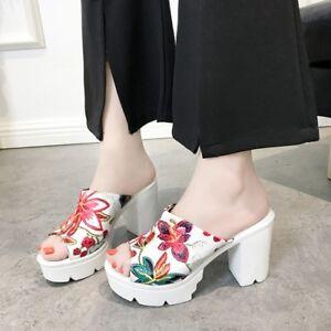 Women-039-s-Slip-On-Peep-Toe-High-Block-Heel-Flowers-Sandals-Slippers-Shoes-Mules