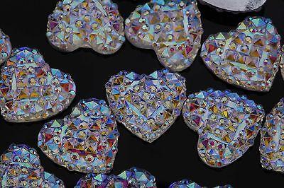 DIY 40 PCS 12mm Clear AB Resin Crystal Heart Flatback Scrapbooking