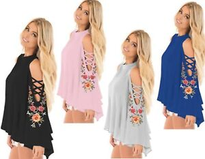 Womens-Floral-Chiffon-Bell-Sleeve-Cut-Out-Cold-Shoulder-Party-Top-Plus-SZ-10-18