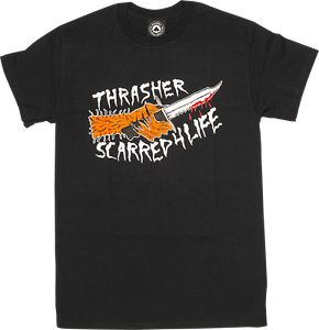 THRASHER SCARRED FOR LIFE Short Sleeve T-Shirt - BLACK - NECKFACE ... 9303db9c42