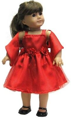 "Red Satin Dress w Roses /& Shawl for American Girl 18/"" Doll Clothes LOVV LOVVBUGG"