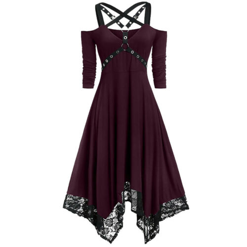Women Punk Plus Size Open Shoulder Lace Spaghetti Long Sleeve Gothic Dress XI
