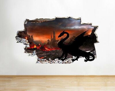 Wall Stickers Dragon Wings Fire Lava Cool Smashed Decal 3D Art Vinyl Room C149