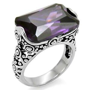 k015-PURPLE-SIMULATED-AMETHYST-WOMENS-STAINLESS-STEEL-HIGH-POLISHED-RING-CHUNKY