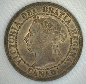 1899-Canada-One-Cent-Coin-1c-Bronze-Almost-Uncirculated