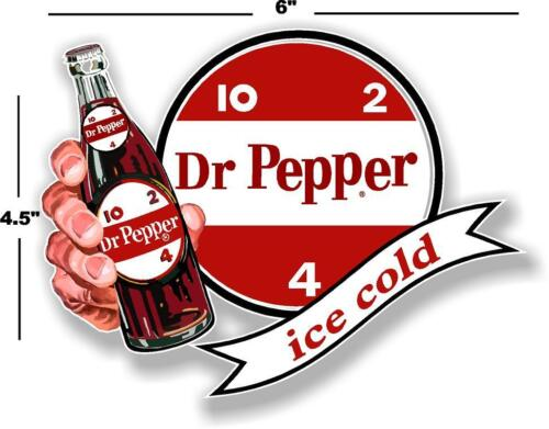 """6/"""" DR PEPPER 10 2 4 ICE COLD BOTTLE IN HAND COOLER POP soda decal DP-107"""