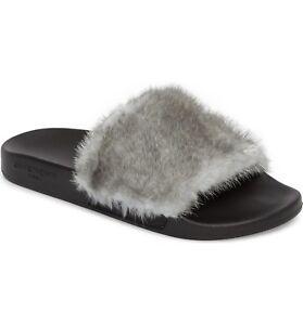 0917b451fb6 Image is loading NEW-Givenchy-Mink-Fur-Slide-Sandal-Flats-Silver-