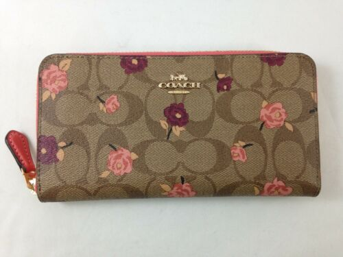 New Authentic Coach F67538 Accordion Zip Around Wallet In Signature Canvas Peony
