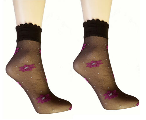 3 6 or 12 Pair Pack Pink Flower and Dot Ankle Highs Pop Sox One Size