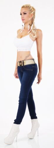 Women/'s skinny slim Jeans stretch Blue Faded with Gold Belt Size 8,10,12,1,4,16
