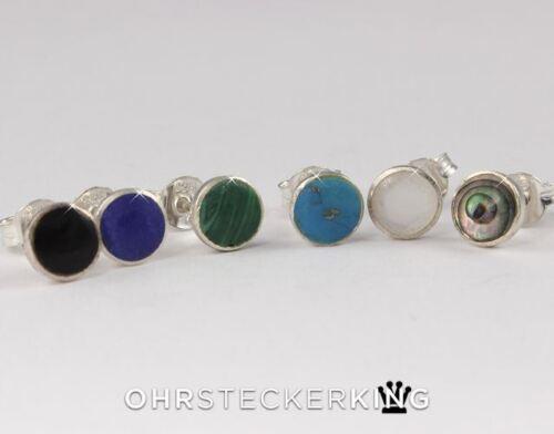 in 925-Silber eingefasst Ohrstecker mit Echt Stein//Muschel 6 mm