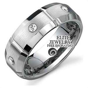 10K WHITE GOLD MENS DIAMOND WEDDING BANDS RING 7MM eBay