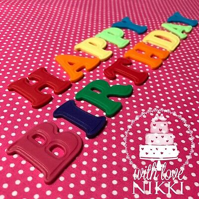 BRIGHT LETTERS NUMBERS 4cm edible icing fondant cupcake ...