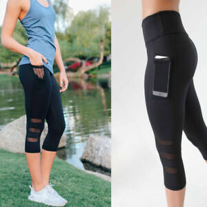 Black-3-4-Women-High-Waist-Yoga-Fitness-Leggings-Capri-Running-Gym-Sports-Pants