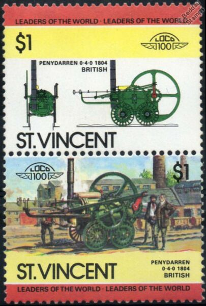 1804 Penydarren Forge (richard Trevithick) Train à Vapeur Timbres / Loco 100