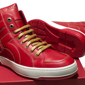 NIB-Ferragamo-Red-Fashion-Sneaker-Men-039-s-Leather-Gancio-Lace-up-High-Top-Boots