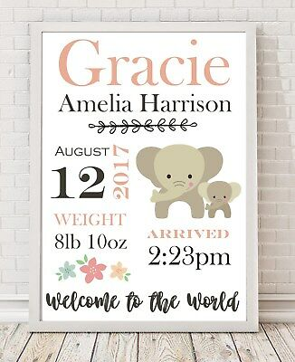 A4 Personalised Baby Gift// Nursery// Christening// Birth Details Poster Print PO7