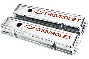 58-86 SBC Chrome Short Valve Covers Orange Chevrolet Logo