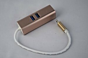 2-Port-USB-3-0-Type-C-Charging-Hub-Macbook-Gold-Color-Free-3-Day-Shipping-NEW