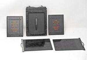 Graflex-3-25-x4-25-Glass-Metal-Plate-Holder-W-Film-Sheaths-RARE