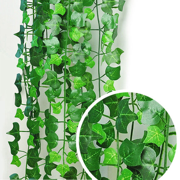 8.2feet Green Artificial Ivy Leaf Garland Plants Vine Fake Foliage Flowers Home