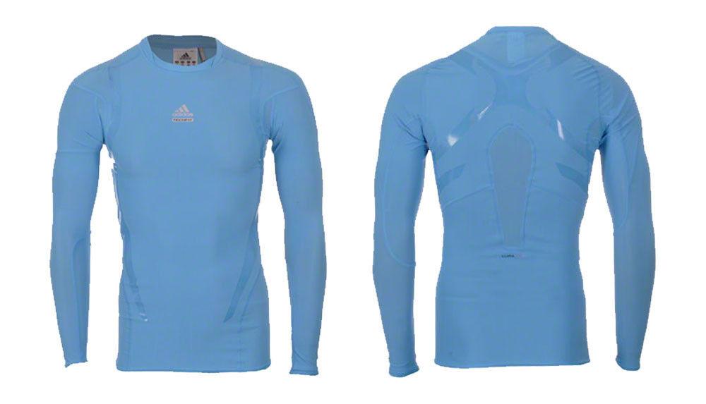 Adidas Techfit Powerweb Shirt L XL langarm Shirt blue Funktionsshirt base layer