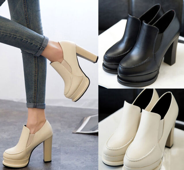 NEW Women's High Heels Platform Shoes Low Ankle Boots Waterproof Ladies Wedges