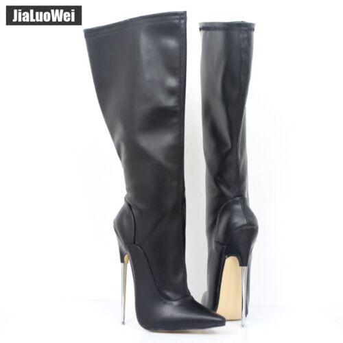 Custom-made Women/'s SM 18cm Metal Heel Pointed Toe Knee High Boots Pole Dancing