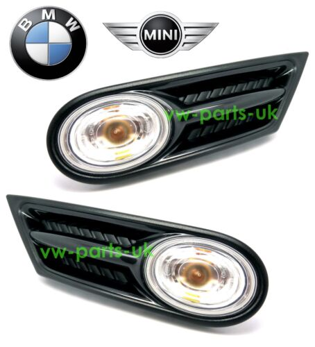 Genuine BMW Mini R55 R56 R57 Clear Side Indicator Repeater Scuttle Trims /& Bulb
